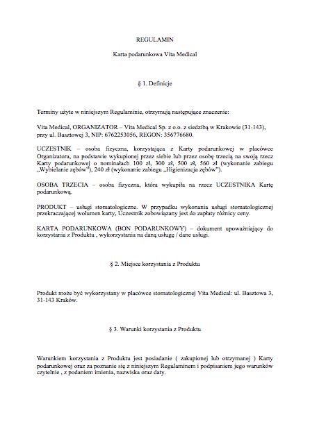Regulamin Karta Podarunkowa Dentysta Kraków